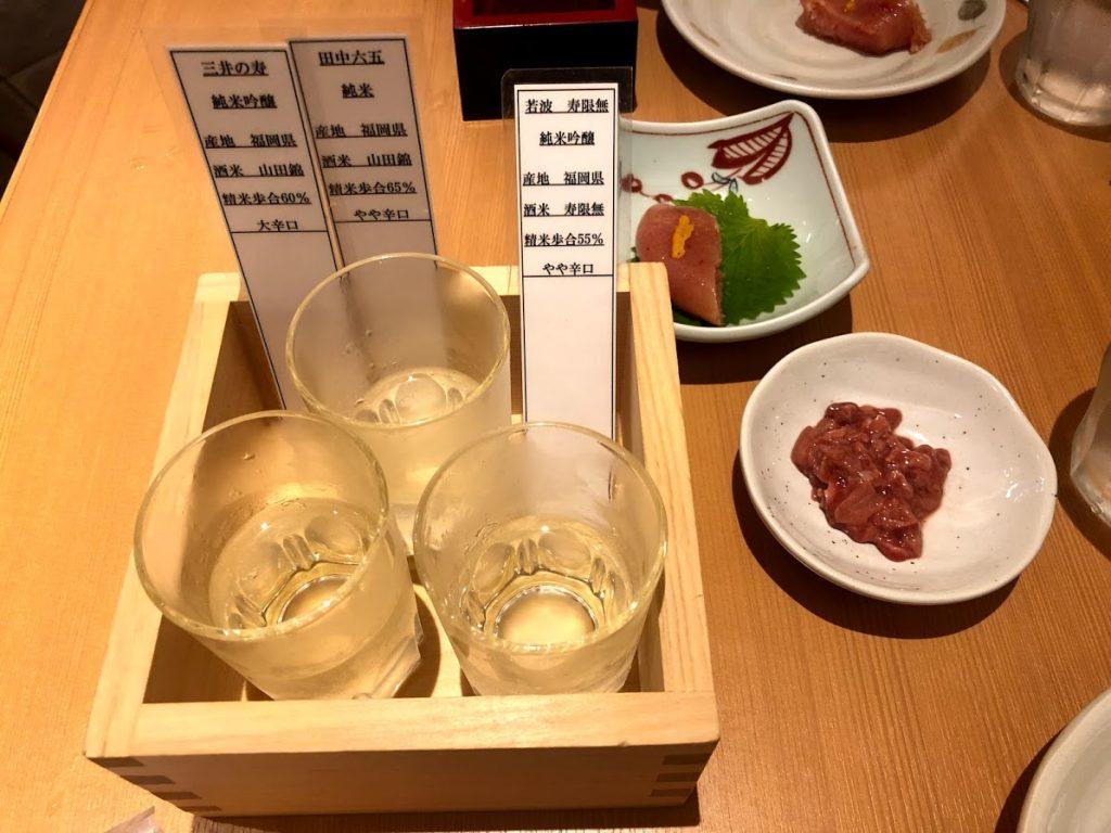 福岡の地酒と明太子と酒盗